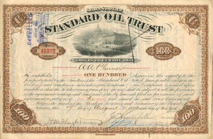 John D. Archbold - Standard Oil Trust - Stock Certificate