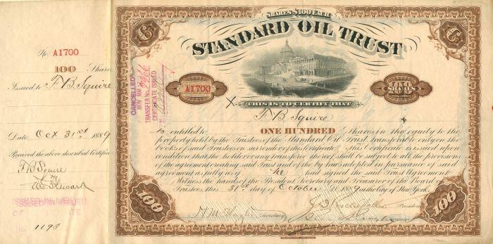 W.H. Beardsley - Standard Oil Trust - Stock Certificate