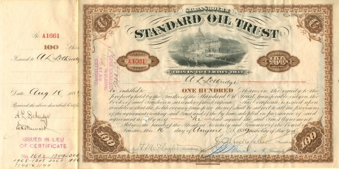 Freeman - Standard Oil Trust - Stock Certificate - SOLD