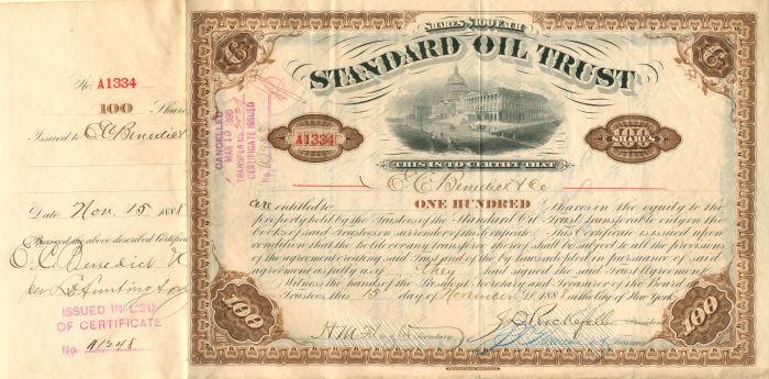 C.W. Harkness - Standard Oil Trust - Stock Certificate