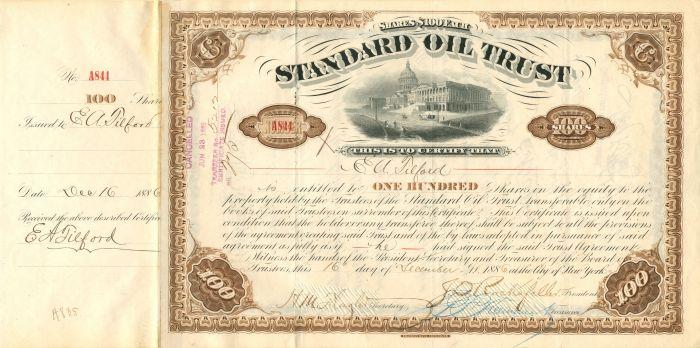 E.A. Tilford - Standard Oil Trust - Stock Certificate - SOLD