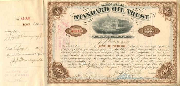 Standard Oil Trust signed by J.J. Vandergrift Twice, JD Rockefeller and HM Flagler - Stock Certificate