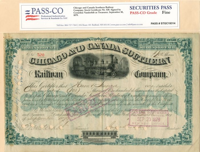 Cornelius Vanderbilt & Augustus Schell - Chicago and Canada Southern Railway Company - Stock Certificate - SOLD