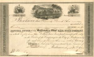 Baltimore & Ohio Rail Road Company issued to Samuel Harris & Sons - Stock Certificate