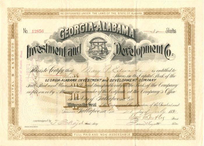 Georgia-Alabama Investment and Development Co. signed by Benjamin Butler - Stock Certificate