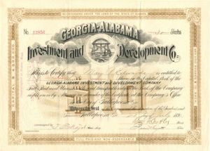 Georgia-Alabama Investment and Development Co. signed by Benjamin Butler