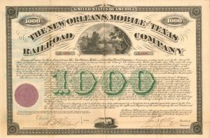 New Orleans, Mobile and Texas Railroad Company signed by Oliver Ames II - Bond