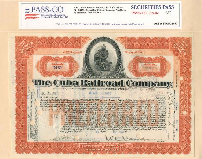 Cuba Railroad Company signed by W.C. VanHorne - Stock Certificate