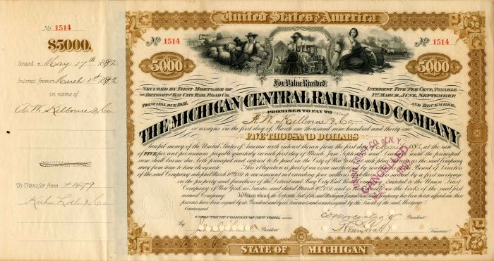 Michigan Central Railroad Company Transferred to AMEXCO - $5,000 - Bond