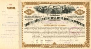 "Michigan Central Railroad Company Issued to the ""Will of W.H. Vanderbilt"" - $5,000 - Bond"