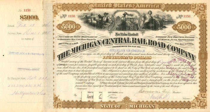 Michigan Central Railroad Company Issued to Cornelius Vanderbilt - $5,000 - Bond