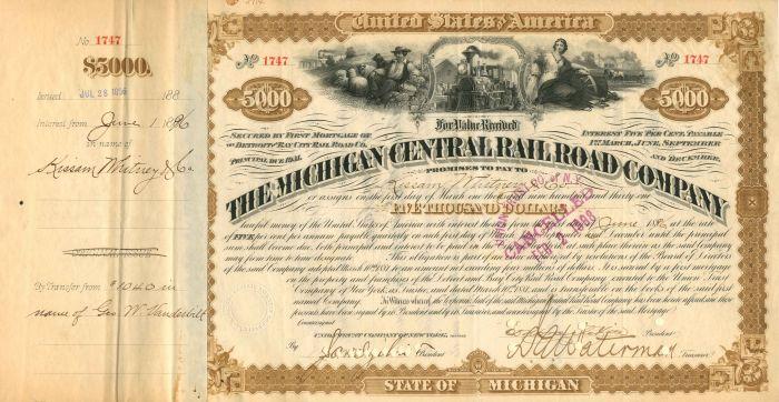 Michigan Central Railroad Company Transferred from Geo. W. Vanderbilt - $5,000 - Bond - SOLD