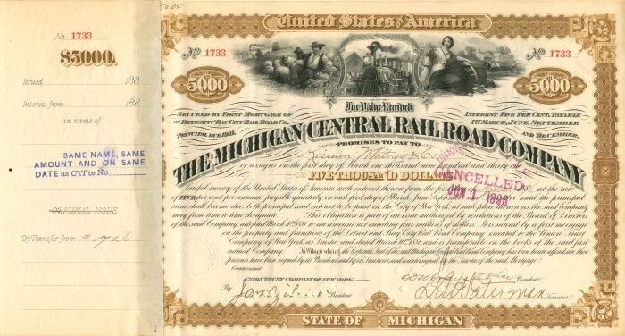 Michigan Central Railroad Company transferred to Maria Louisa Niven (Vanderbilt) - $5,000 - Bond
