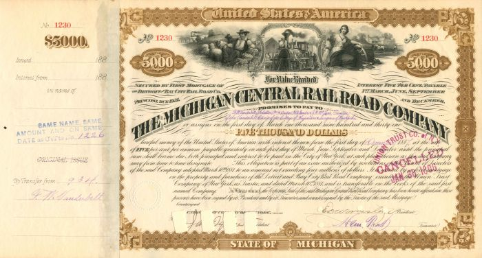 Michigan Central Railroad Company Issued to F.W. Vanderbilt - $5,000 - Bond