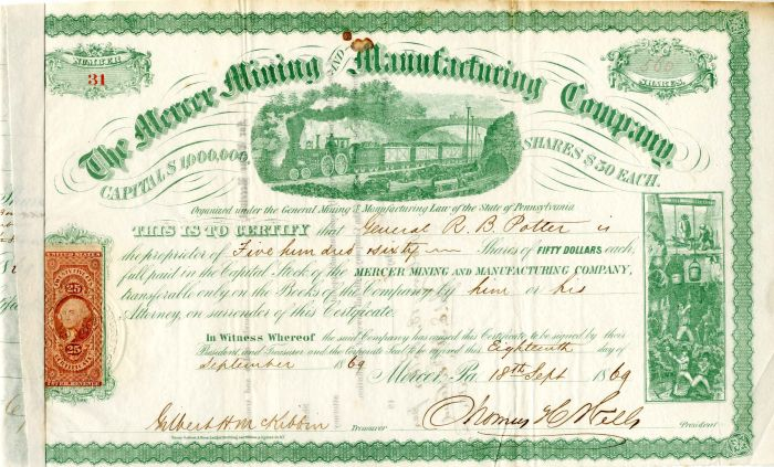 Mercer Mining and Manufacturing Company Issued to General R. B. Potter - Stock Certificate
