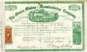 Mercer Mining and Manufacturing Company Issued to General R. B. Potter