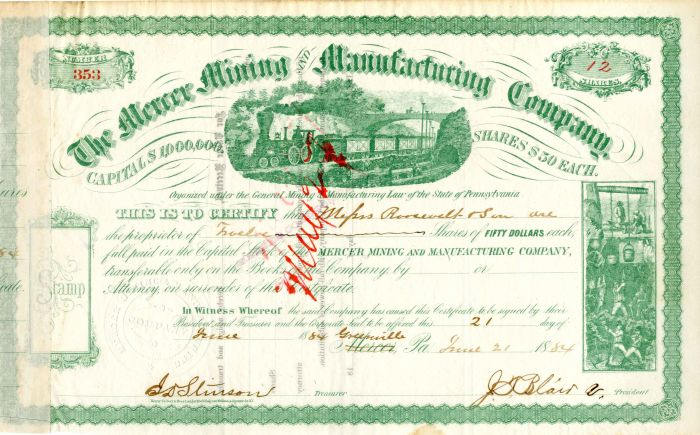 Mercer Mining and Manufacturing Company Issued to Roosevelt and Son - Stock Certificate