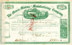 Mercer Mining and Manufacturing Company Issued to Roosevelt & Son