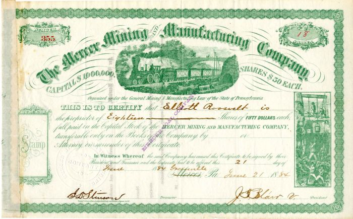 Mercer Mining and Manufacturing Company Issued to Elliott Roosevelt - Stock Certificate - SOLD