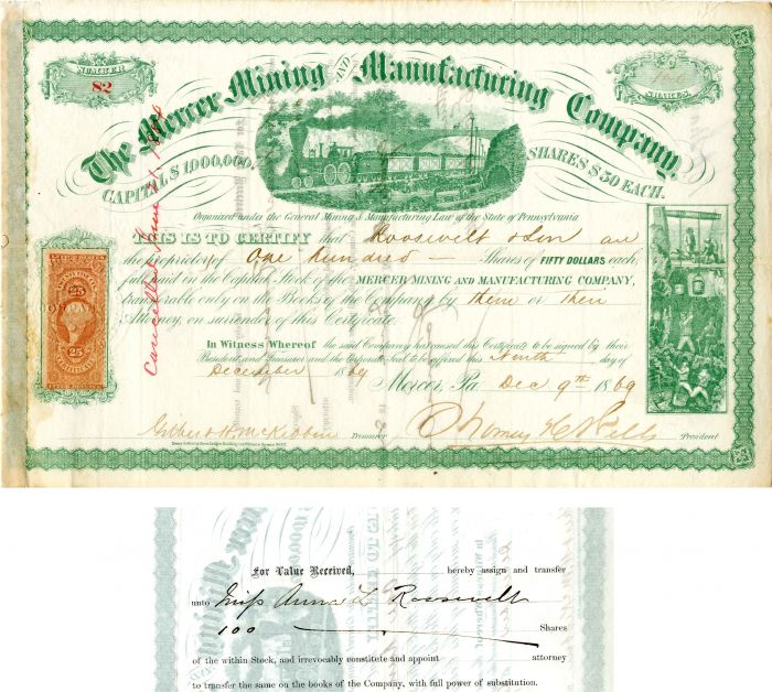 Mercer Mining and Manufacturing Company transferred to Anna L. Roosevelt - Stock Certificate
