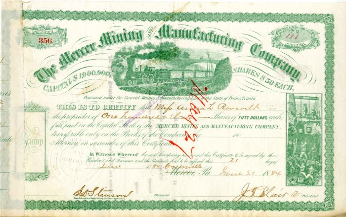 Mercer Mining and Manufacturing Company Issued to Anna L. Roosevelt - Stock Certificate