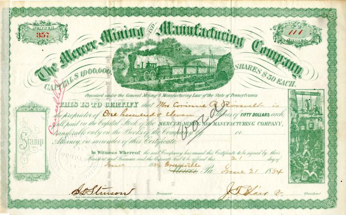 Mercer Mining and Manufacturing Company Issued to Corinne R. Roosevelt - Stock Certificate