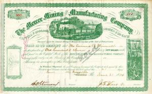 Mercer Mining and Manufacturing Company Issued to Corinne R. Roosevelt