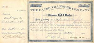 Cairo Transfer Company Issued to Drexel, Morgan & Co. - Stock Certificate