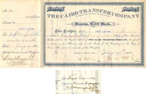 Cairo Transfer Company Issued to Junius S. Morgan - Stock Certificate
