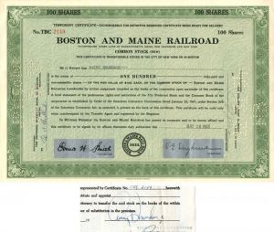 Boston and Maine Railroad signed by Avery Brundage - Stock Certificate