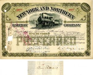 New York and Northern Railway Company signed by Simon Rothschild - Stock Certificate