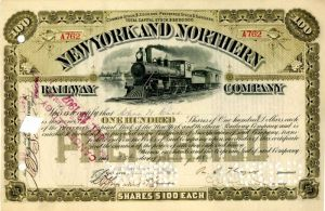 New York and Northern Railway Company Issued to Chas. Cass - Stock Certificate