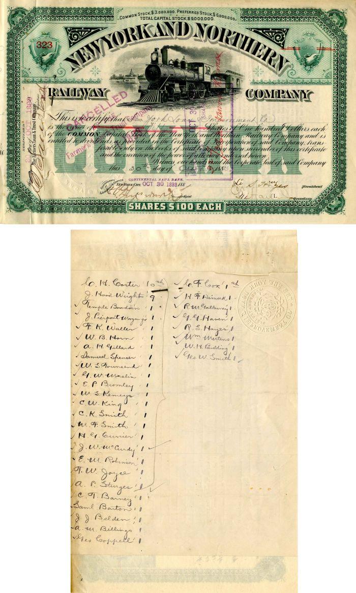 New York and Northern Railway Company - J. Pierpont Morgan Transfer - Stock Certificate