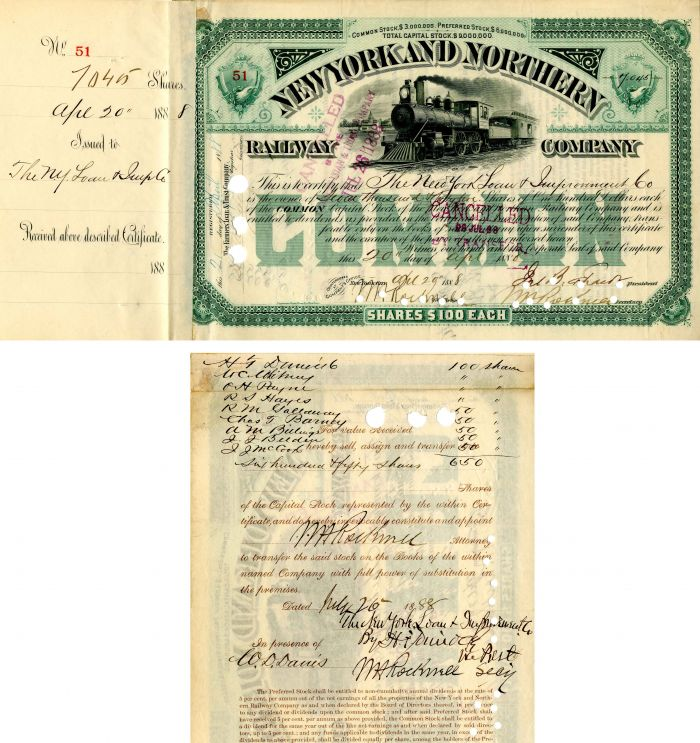 New York and Northern Railway Company Transferred to W.C. Whitney - Stock Certificate