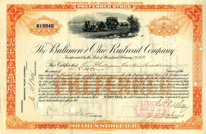 Baltimore and Ohio Railroad Company Issued to Phillips Exeter Academy - Stock Certificate - SOLD