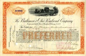 Baltimore and Ohio Railroad Company Issued to Phillips Exeter Academy - Stock Certificate