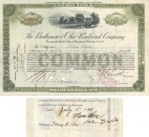 Baltimore and Ohio Railroad Company Issued to and signed by Max Baer - Stock Certificate