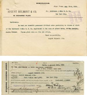 Baltimore and Ohio Railroad Company signed by August Belmont Co. - Stock Certificate