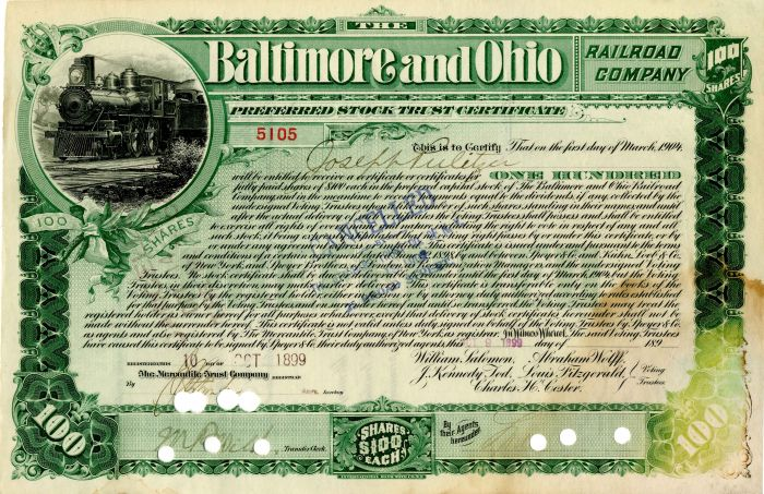 Baltimore and Ohio Railroad Company Issued to Joseph Pulitzer - Stock Certificate - SOLD