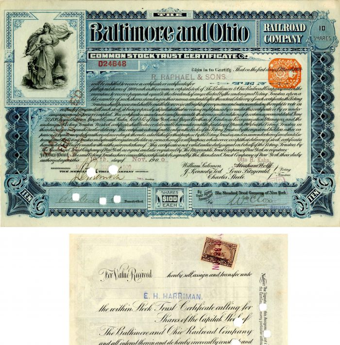 Baltimore and Ohio Railroad Company Transferred to E.H. Harriman - Stock Certificate