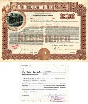 Baltimore and Ohio Railroad Company $5,000 Bond Signed by James Bond