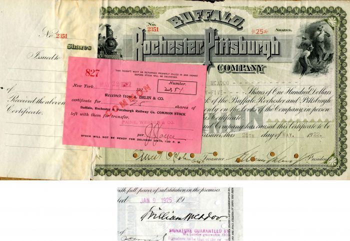 Buffalo, Rochester and Pittsburgh Railway Company - Issued to and Signed by Wm. McAdoo - Stock Certificate