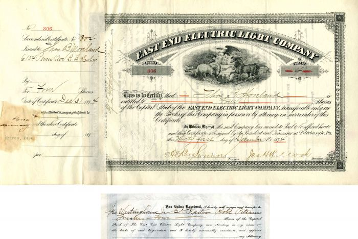 East End Electric Light Company Transferred to Geo. Westinghouse, Jr. - Stock Certificate