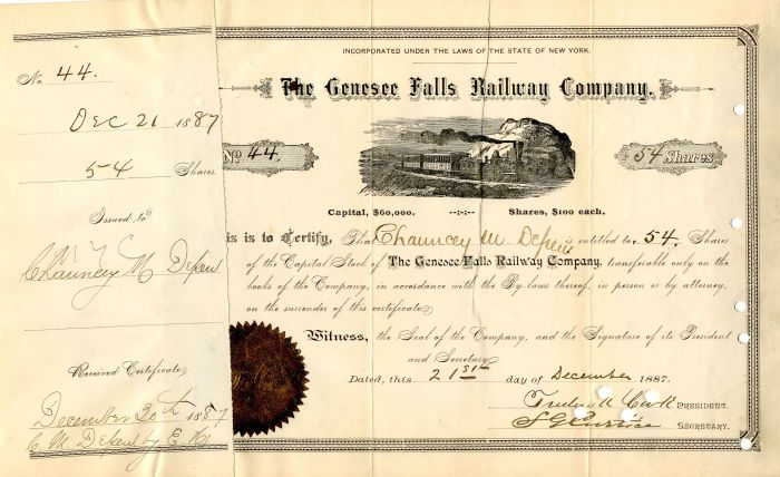 Genesee Falls Railway Company Issued to Chauncey M. Depew - Stock Certificate
