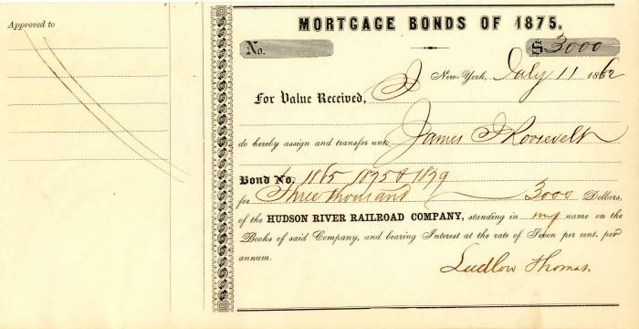 Hudson River Railroad Company Transfer to James J. Roosevelt - Stock Certificate
