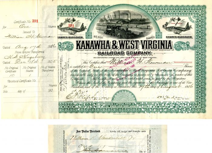 Kanawha & West Virginia Railroad Company Transferred to Wm. K. Vanderbilt, Jr. - Stock Certificate - SOLD