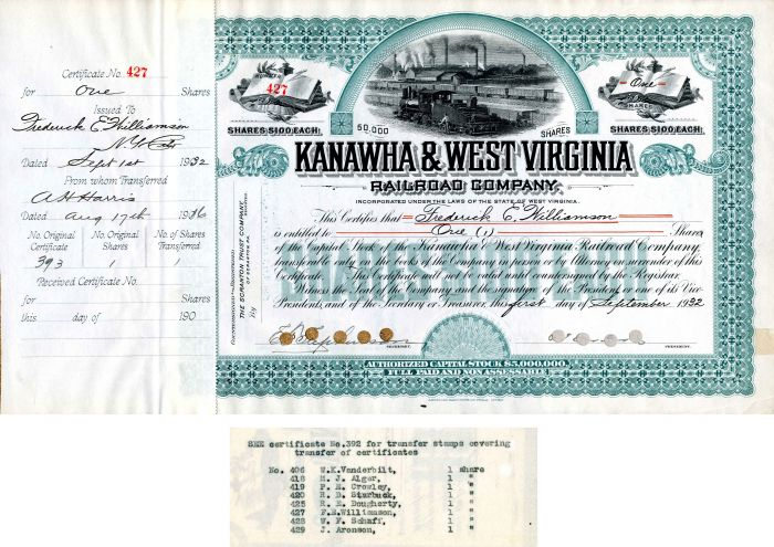 Kanawha & West Virginia Railroad Company Transferred to Wm. K. Vanderbilt - Stock Certificate