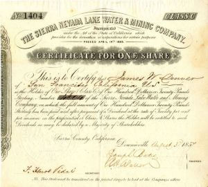 Sierra Nevada Lake Water & Mining Company issued to James W. Denver - Stock Certificate