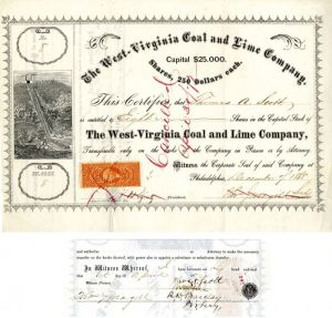 West-Virginia Coal and Lime Company signed by Thomas A. Scott - Stock Certificate