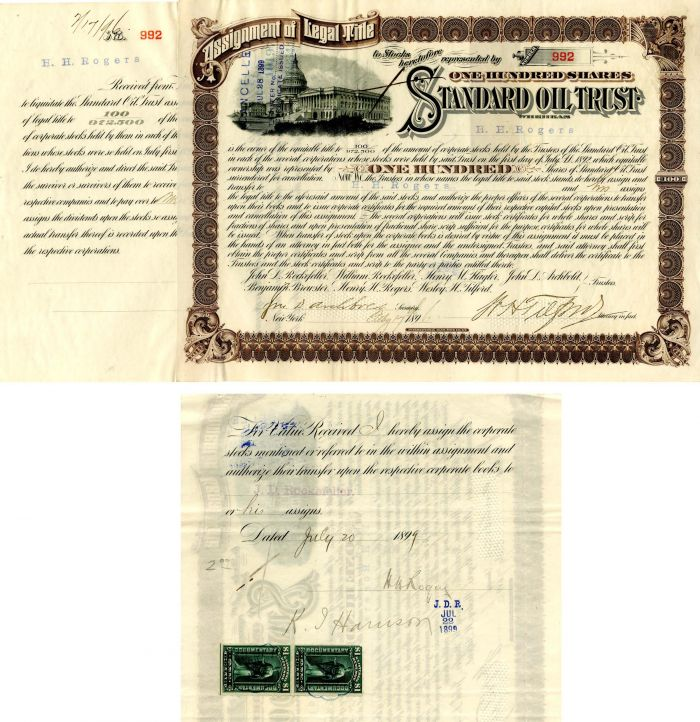 Standard Oil Trust signed by H.H. Rogers, John D. Archbold, W.H. Tilford and transferred to J.D. Rockefeller - Stock Certificate - SOLD